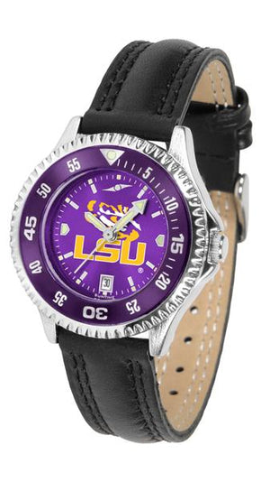 Louisiana State Tigers Ladies Competitor Ano Poly/Leather Band Watch w/ Colored Bezel-Watch-Suntime-Top Notch Gift Shop
