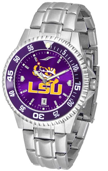 Louisiana State Tigers Mens Competitor AnoChrome Steel Band Watch w/ Colored Bezel-Watch-Suntime-Top Notch Gift Shop