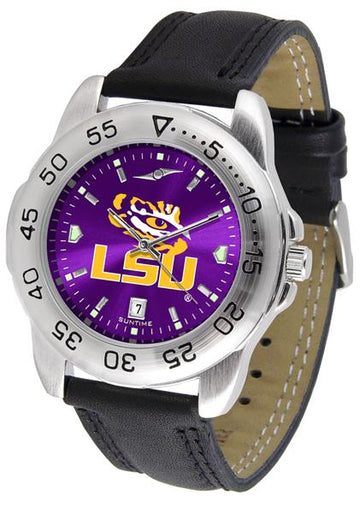 Louisiana State Tigers Mens AnoChrome Leather Band Sports Watch