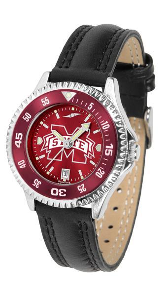 Mississippi State Bulldogs Ladies Competitor Ano Poly/Leather Band Watch w/ Colored Bezel