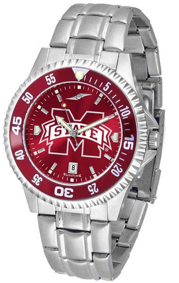 Mississippi State Bulldogs Mens Competitor AnoChrome Steel Band Watch w/ Colored Bezel