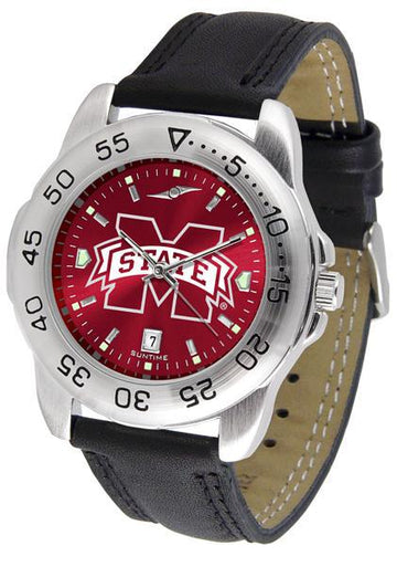 Mississippi State Bulldogs Mens AnoChrome Leather Band Sports Watch