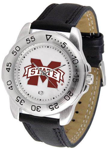 Mississippi State Bulldogs Mens Leather Band Sports Watch