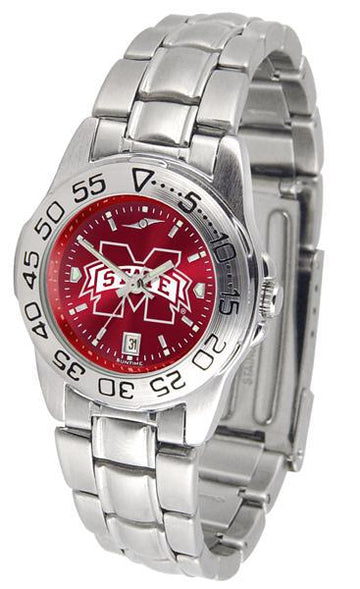 Mississippi State Bulldogs Ladies AnoChrome  Steel Band Sports Watch