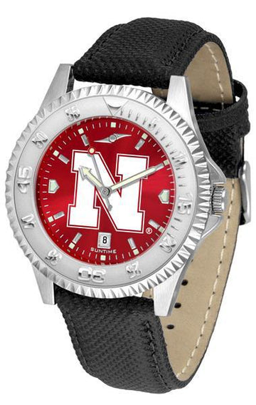 Nebraska Cornhuskers Competitor AnoChrome - Poly/Leather Band Watch