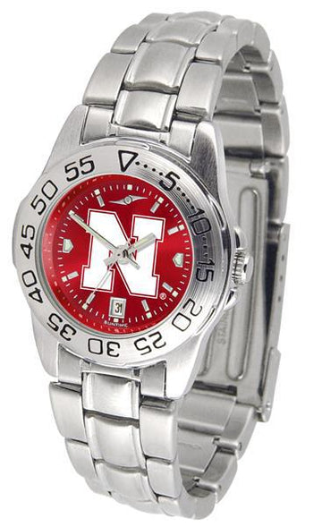 Nebraska Cornhuskers Ladies AnoChrome  Steel Band Sports Watch