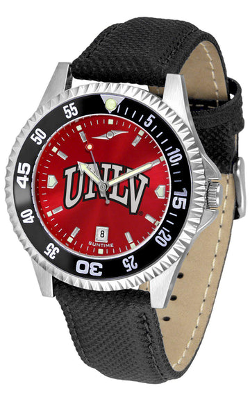 Nevada Las Vegas Rebels Mens Competitor Ano Poly/Leather Band Watch w/ Colored Bezel