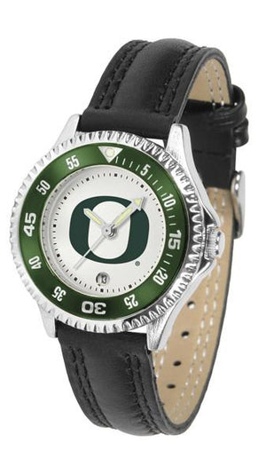 Oregon Ducks Ladies Competitor Ano Poly/Leather Band Watch w/ Colored Bezel-Watch-Suntime-Top Notch Gift Shop