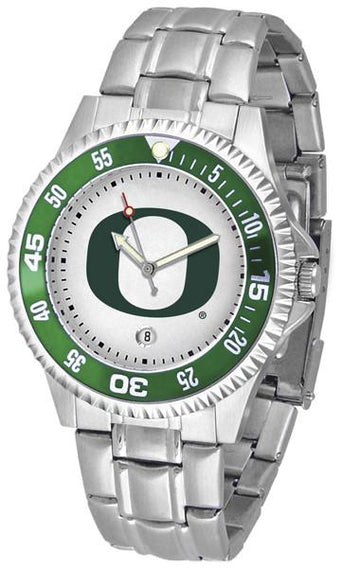 Oregon Ducks Mens Competitor AnoChrome Steel Band Watch w/ Colored Bezel