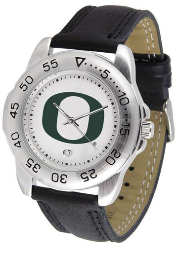Oregon Ducks Mens AnoChrome Leather Band Sports Watch