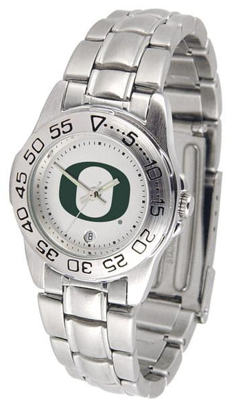 Oregon Ducks Ladies AnoChrome  Steel Band Sports Watch