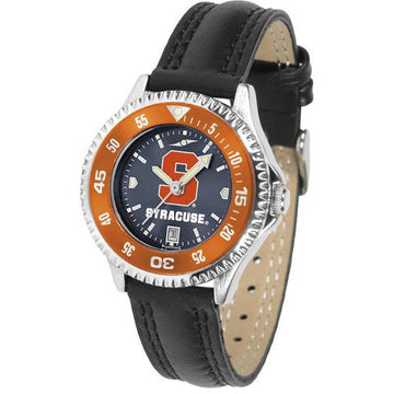 Syracuse Orange Ladies Competitor Ano Poly/Leather Band Watch w/ Colored Bezel