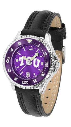Texas Christian Horned Frogs Ladies Competitor Ano Poly/Leather Band Watch w/ Colored Bezel-Watch-Suntime-Top Notch Gift Shop