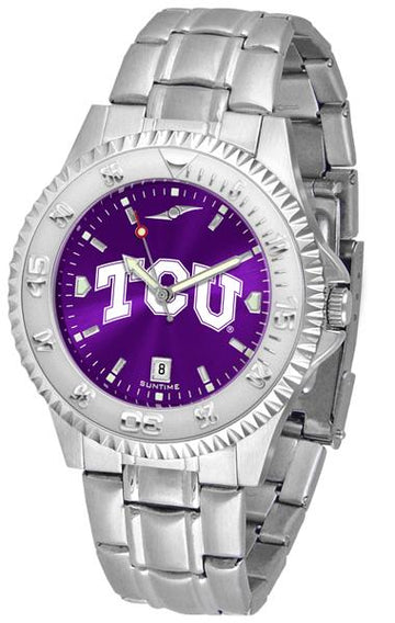 Texas Christian Horned Frogs Competitor AnoChrome - Steel Band Watch