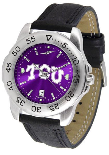 Texas Christian Horned Frogs Mens AnoChrome Leather Band Sports Watch
