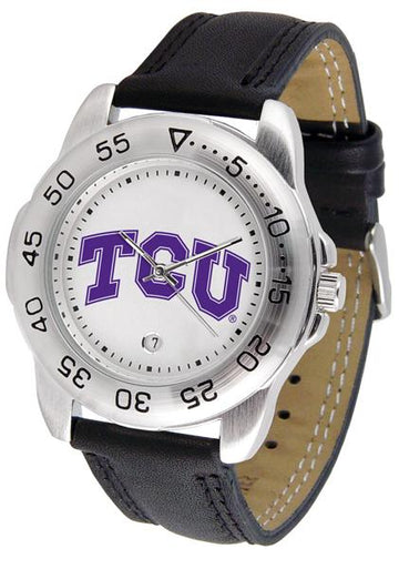 Texas Christian Horned Frogs Mens Leather Band Sports Watch