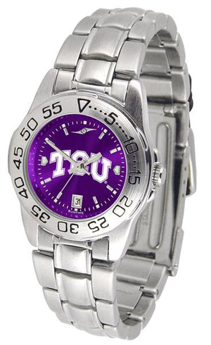 Texas Christian Horned Frogs Ladies AnoChrome Steel Band Sports Watch-Watch-Suntime-Top Notch Gift Shop