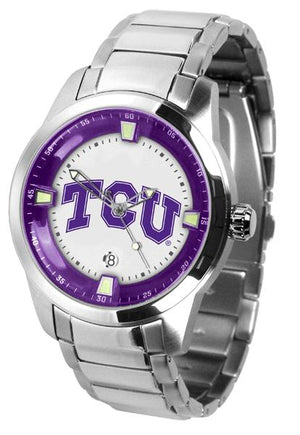 Texas Christian Horned Frogs Men's Titan Stainless Steel Band Watch-Watch-Suntime-Top Notch Gift Shop