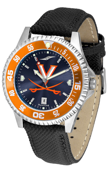 Virginia Cavaliers Mens Competitor Ano Poly/Leather Band Watch w/ Colored Bezel