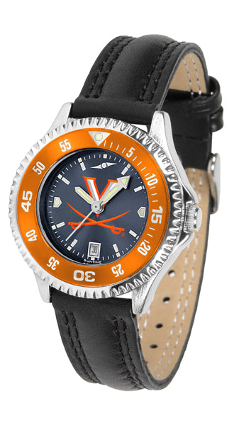 Virginia Cavaliers Ladies Competitor Ano Poly/Leather Band Watch w/ Colored Bezel