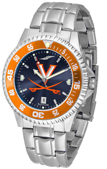 Virginia Cavaliers Mens Competitor AnoChrome Steel Band Watch w/ Colored Bezel