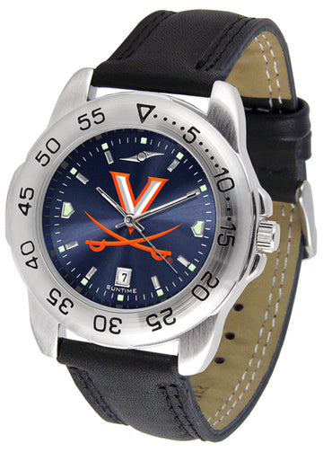 Virginia Cavaliers Mens AnoChrome Leather Band Sports Watch