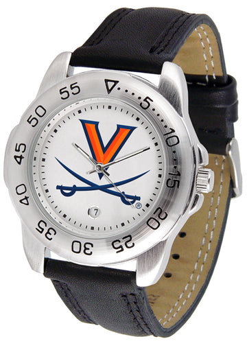 Virginia Cavaliers Mens Leather Band Sports Watch