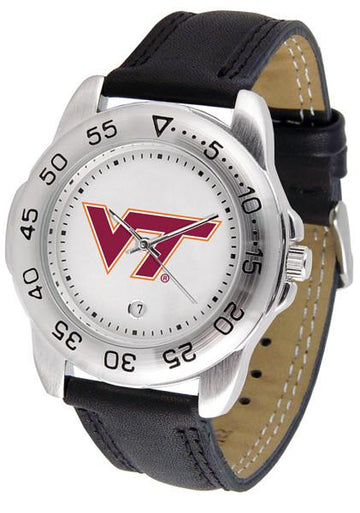 Virginia Tech Hokies Mens Leather Band Sports Watch