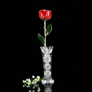 Sterling Silver Tipped Red Rose with Crystal Vase-Gold Trimmed Rose-The Rose Lady-Top Notch Gift Shop