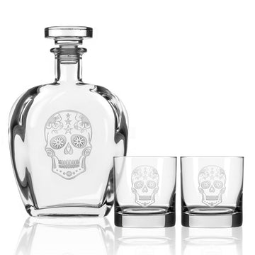 Sugar Skull 3 Piece Gift Set | Whiskey Decanter and Rocks Glasses