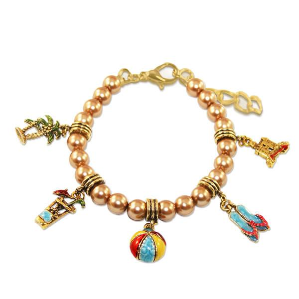 Summer Fun in the Sun Charm Bracelet in Gold-Bracelet-Whimsical Gifts-Top Notch Gift Shop