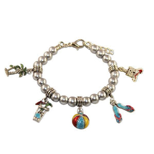 Summer Fun in The Sun Charm Bracelet in Silver-Bracelet-Whimsical Gifts-Top Notch Gift Shop