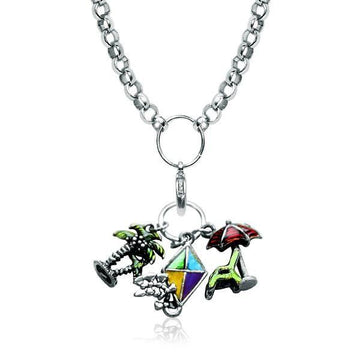 Summer Fun in the Sun Charm Necklace in Silver