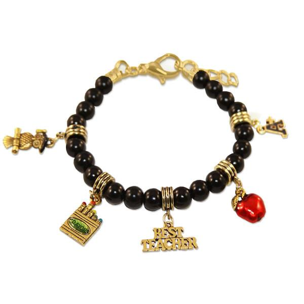 Teacher Charm Bracelet in Gold-Whimsical GiftsTop Notch Gift Shop