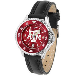 Texas A&M Aggies Ladies Competitor Ano Poly/Leather Band Watch w/ Colored Bezel-Watch-Suntime-Top Notch Gift Shop