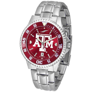 Texas A&M Aggies Mens Competitor AnoChrome Steel Band Watch w/ Colored Bezel