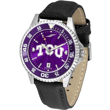 Texas Christian Horned Frogs Mens Competitor Ano Poly/Leather Band Watch w/ Colored Bezel