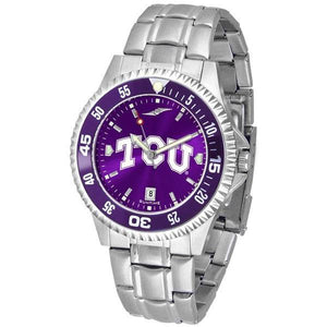 Texas Christian Horned Frogs Mens Competitor AnoChrome Steel Band Watch w/ Colored Bezel-Watch-Suntime-Top Notch Gift Shop