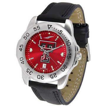 Texas Tech Red Raiders Mens AnoChrome Leather Band Sports Watch