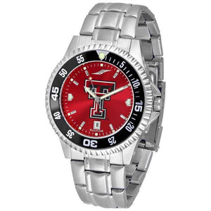 Texas Tech Red Raiders Mens Competitor AnoChrome Steel Band Watch w/ Colored Bezel-Watch-Suntime-Top Notch Gift Shop