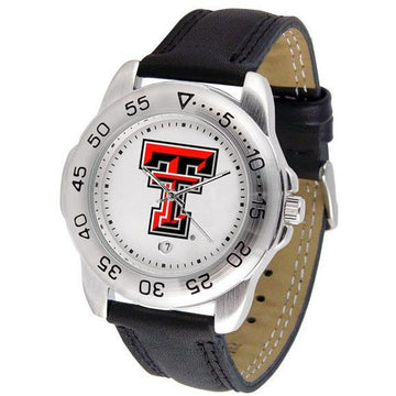Texas Tech Red Raiders Mens Leather Band Sports Watch