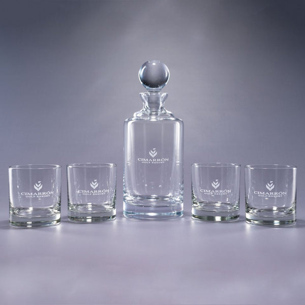 Uptown 5 Piece Bar Gift Set - Personalized-Decanter-J Charles-Top Notch Gift Shop