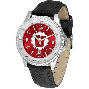 Utah Utes Competitor AnoChrome - Poly/Leather Band Watch