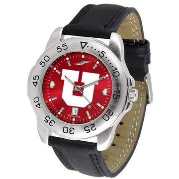 Utah Utes Mens AnoChrome Leather Band Sports Watch