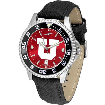 Utah Utes Mens Competitor Ano Poly/Leather Band Watch w/ Colored Bezel