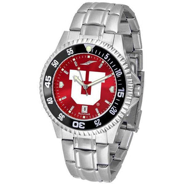 Utah Utes Mens Competitor AnoChrome Steel Band Watch w/ Colored Bezel