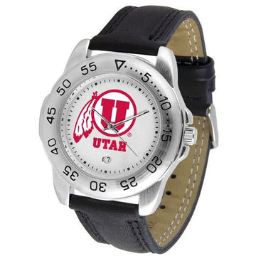 Utah Utes Mens Leather Band Sports Watch