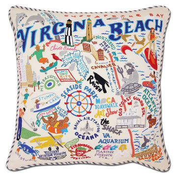 Virginia Beach Embroidered Catstudio Pillow
