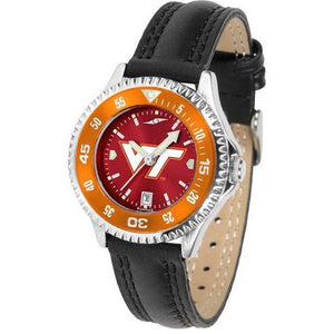 Virginia Tech Hokies Ladies Competitor Ano Poly/Leather Band Watch w/ Colored Bezel-Watch-Suntime-Top Notch Gift Shop