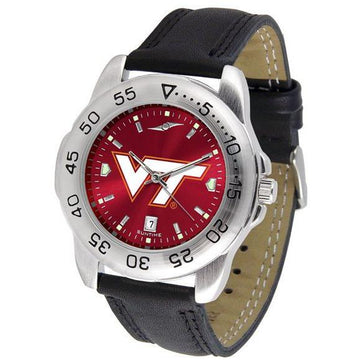 Virginia Tech Hokies Mens AnoChrome Leather Band Sports Watch